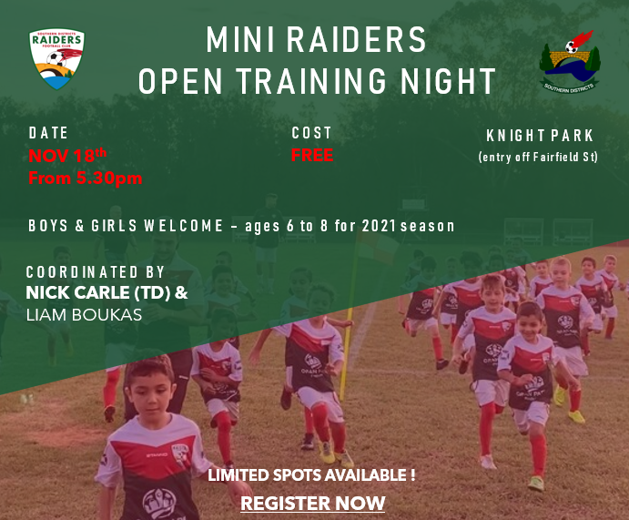 Mini Raiders Open Training Night